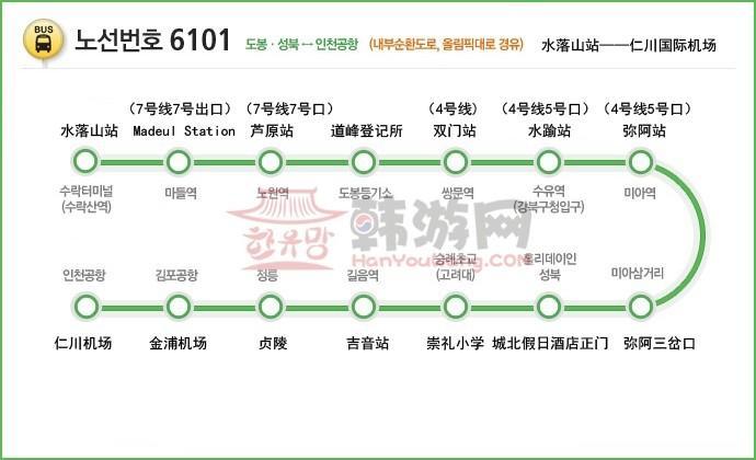 韩国机场大巴6300路