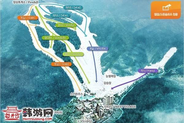 昆池岩度假村滑雪场_韩国景点_韩游网