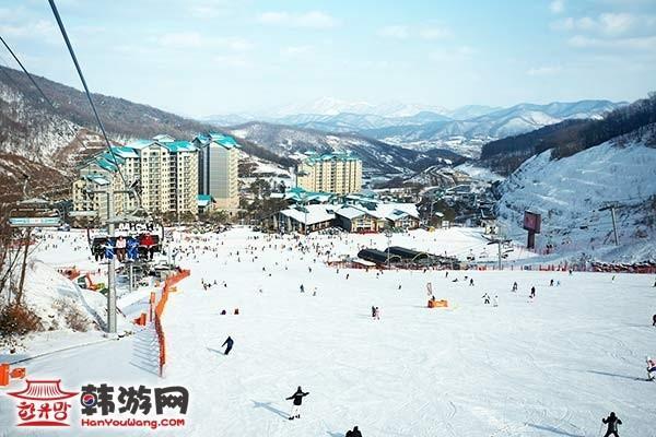 韩国昆池岩度假村滑雪场