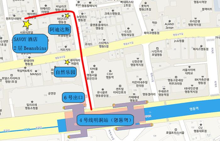 明洞店地图