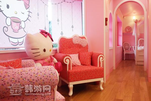 Hello kitty 主题咖啡厅卧室2