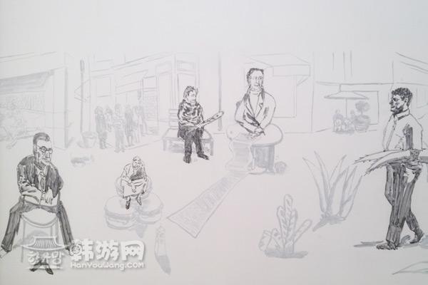 韩国手绘黑白人