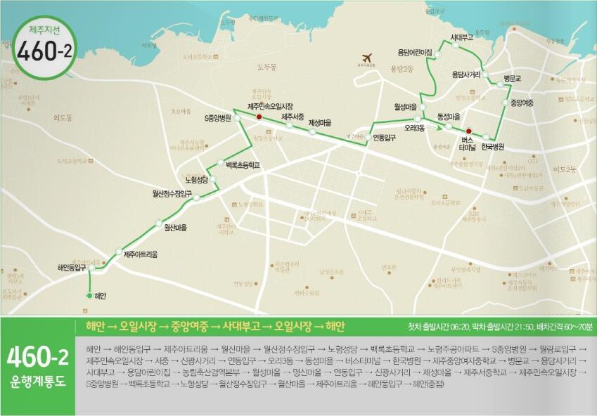 海安→汉拿医院→甫诚市场→济州中→老衡五岔路→海安