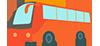 橙色矢量卡通巴士免抠.png